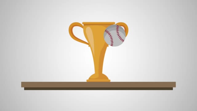 chelf with trophy baseball animation video