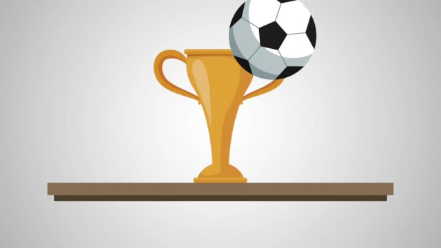 chelf with trophy soccer animation video