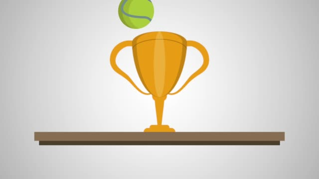 chelf with trophy tennis animation video