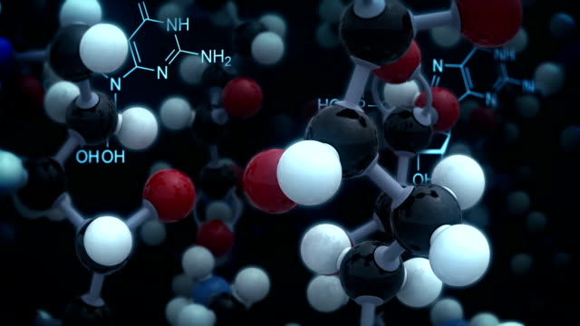 Chemical background. Black version. Loop video