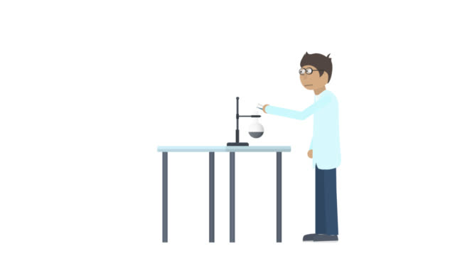 Chemical experiment. Animation of an explosion in the laboratory. Scientist cartoon