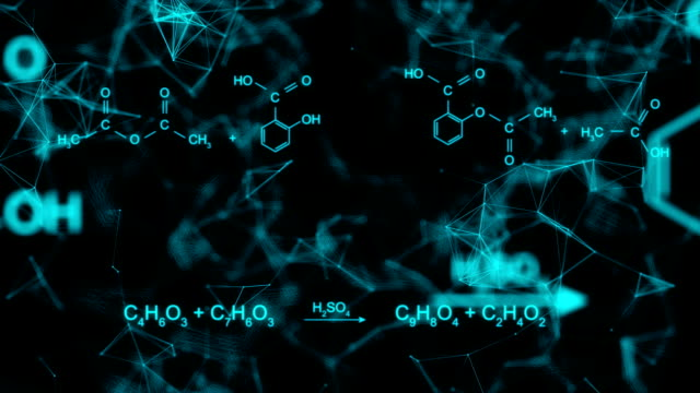 Chemical formula animation Animation of typing aspirin chemical formula consisting of benzene rings, hexagon in abstract digital space. Seamless loopable background. chemical formula stock videos & royalty-free footage
