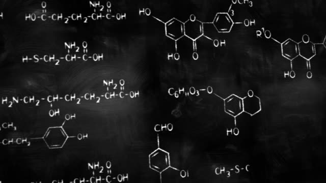 chemical formulas on chalkboard panning loop video