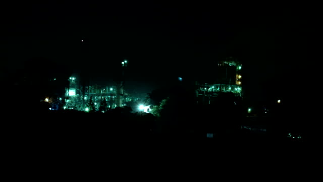 Chemical Plant at night video