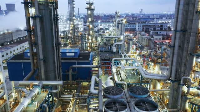 stockvideo's en b-roll-footage met chemische installatie - olieraffinaderij