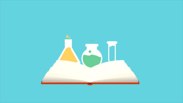 Chemical Open book with chemical icons, Animation Design, HD 1080 open book stock videos & royalty-free footage