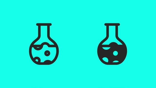 chemistry flask icons - vector animate - clip art video stock e b–roll