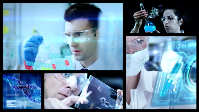 vidéos et rushes de pharmacies en laboratoire split screen - biotechnologies