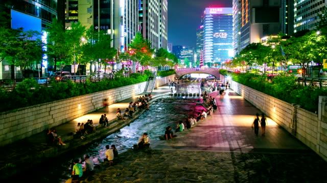 vídeos de stock e filmes b-roll de rio cheonggyecheon - coreia do sul