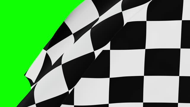 Chequered flag over greenscreen for video transition. 3d rendering