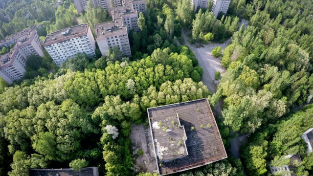 Chernobyl Left Over - Contaminated Town / City Buildings Drone Flight video