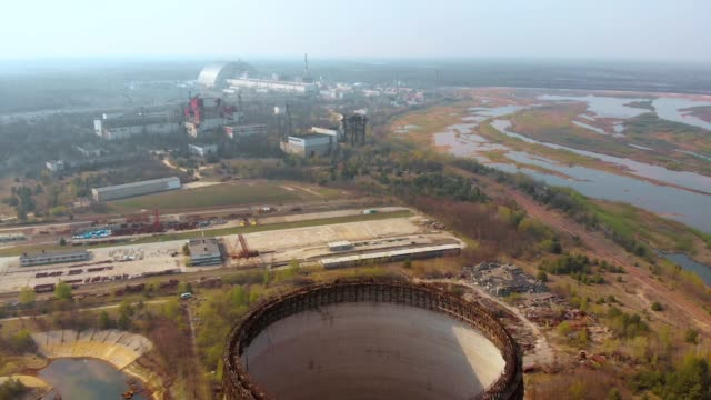 chernobyl nuclear power plant, aerial view - reattore nucleare video stock e b–roll