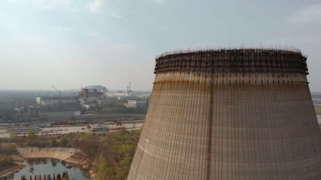 chernobyl nuclear power plant, ukrine. aerial view - reattore nucleare video stock e b–roll