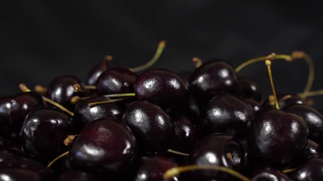 Cherry Ripe Cherries Rotating Over Black Background Sweet Rotation 4k Uhd Video Seamless Looping Closeup Makro Stock More