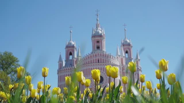 chesme church in sun shine with tulip field video