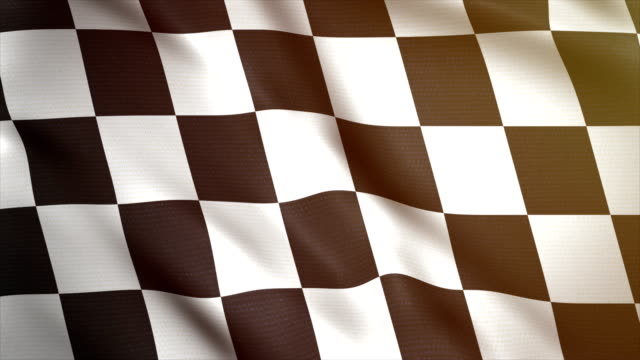 Chess flag waving in wind 4k. Sport car background. Race start or finish. Racing animated flag.