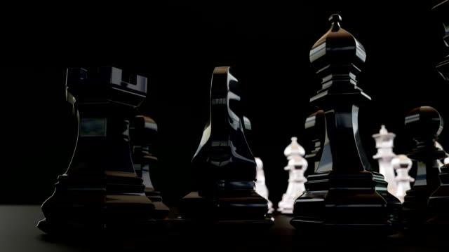 3d-schach auf dem brett - könig schachfigur stock-videos und b-roll-filmmaterial