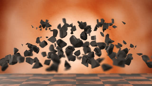 chess piece black rook on a beige background shatters into fragments