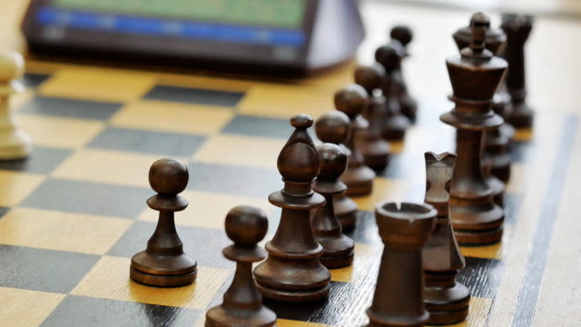 chess pieces closeup during the party video