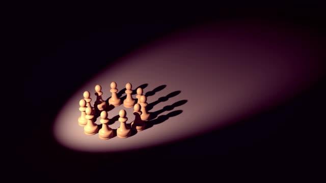 chess pieces, pawns forming kings shadow - mata filmów i materiałów b-roll