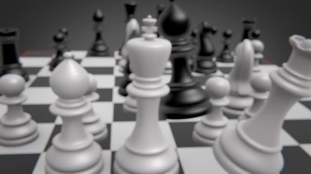 vídeos de stock e filmes b-roll de chessboard close-up, realistic 3d animation with movement of multiple pieces - xadrez