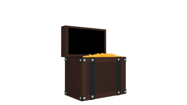 chest. animation of a chest with gold coins. treasure, cartoon - scatola del tesoro video stock e b–roll
