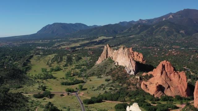 Cheyenne Mountain with limestone and sandstone outcroppings, Colorado Springs, Colorado, USA