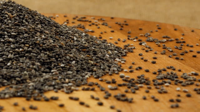 Chia seeds rotates on the turntable video