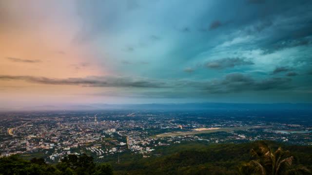 Chiang mai cityscape at sunrise video