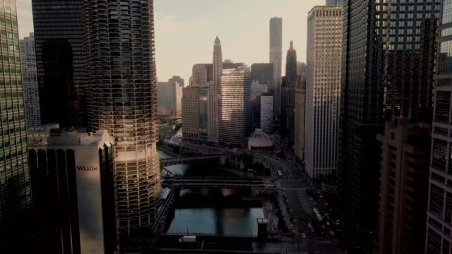 chicago - aerial view of downtown - american architecture stock videos & royalty-free footage