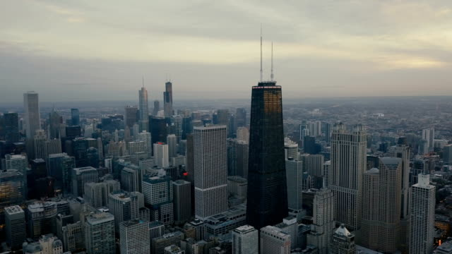 Chicago Aerial View - Skyline Aerial View of Downtown Chicago in 4k UHD, Cityscape chicago stock videos & royalty-free footage