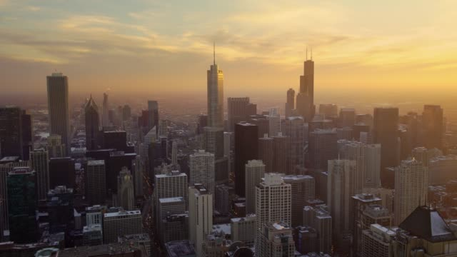 Chicago at sunset with amazing light