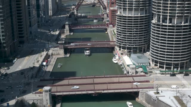 Chicago Bridge Lift Sequence Main Stem 4k video