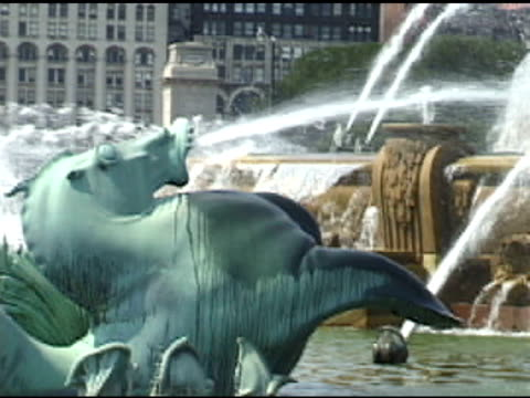 Chicago Buckingham Fountain 2 A detail of Chicago's Buckingham Fountain in Grant Park less than 10 seconds stock videos & royalty-free footage