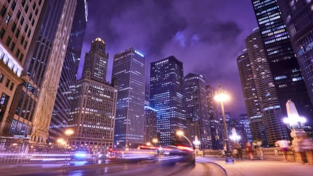 Chicago business district Cityscape. Shot in 8K Super UHD chicago stock videos & royalty-free footage