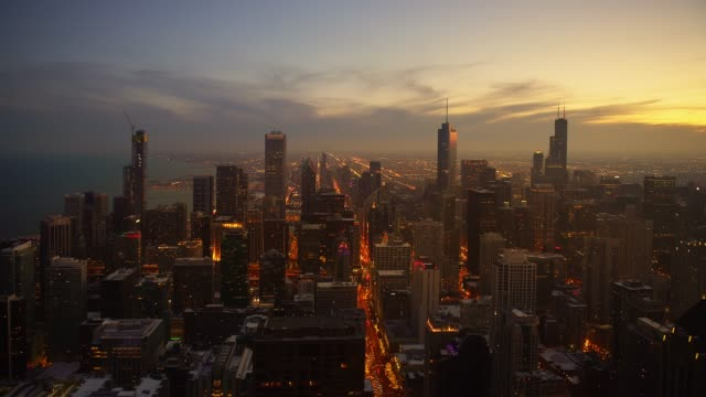 Chicago city skyline at golden hour
