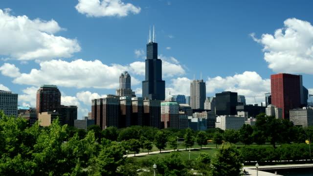 Chicago Skyline von Tag zu Nacht Pan – Video
