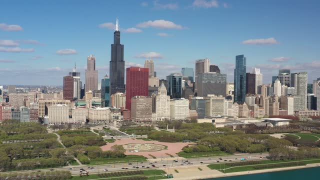 Chicago Cityscape in Spring - Aerial