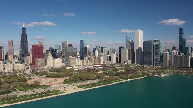 Chicago Cityscape in Spring - Aerial View in 4K