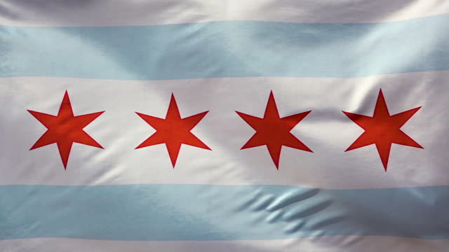 Chicago dity flag waves In slow motion. video