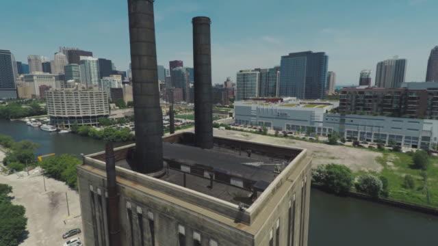 シカゴ ダウンタウン ループ航空夏 - ヘリコプター点の映像素材/bロール