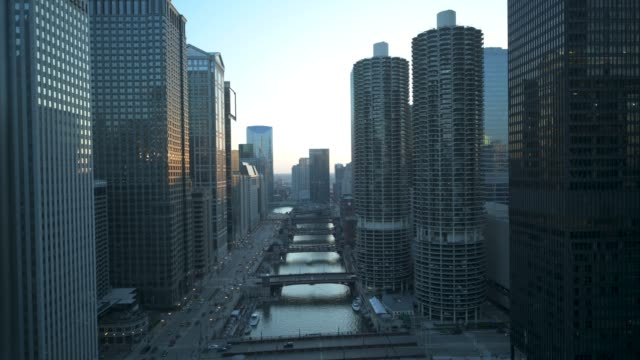 Chicago River Sunset Timelapse video