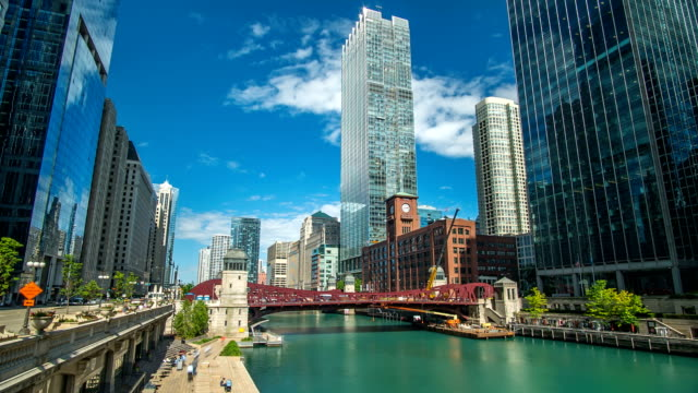 Chicago River Time Lapse Downtown 4K 1080P video