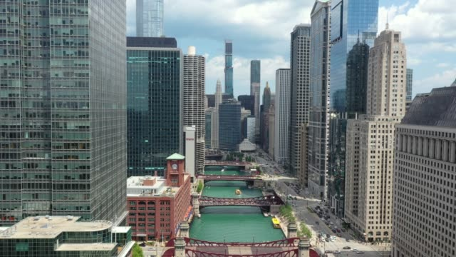 Chicago Riverwalk - Drone Shot Flyover Downtown Chicago - Aerial View - July 2019 chicago stock videos & royalty-free footage
