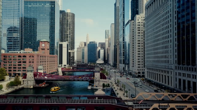 Chicago Riverwalk Aerial View of Downtown Chicago in 4k UHD chicago stock videos & royalty-free footage