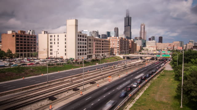 Chicago Skyline 290 Timelapse Cloudy Chicago Skyline 290 Timelapse Cloudy south stock videos & royalty-free footage