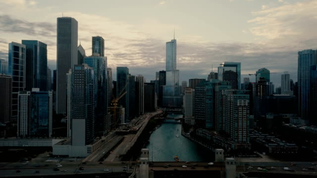 Chicago Skyline - Aerial 4K Aerial View of Downtown Chicago in 4k UHD chicago stock videos & royalty-free footage