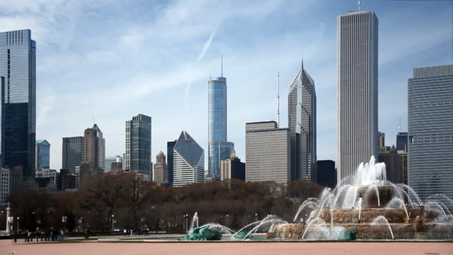 Chicago Skyline and Buckingham Fountain The famous fountain sits in the foreground of this video of the windy city. chicago architecture stock videos & royalty-free footage