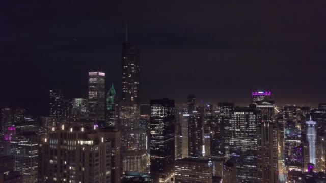Chicago Skyline at Night - Aerial Footage