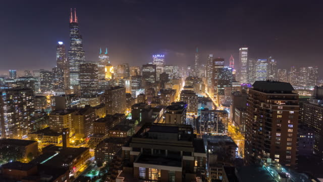 Chicago Skyline at Night Skyscrapers Timelapse